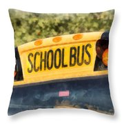 Back To School Bus Watercolor Throw Pillow
