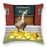 Back To School Little Duckies Throw Pillow