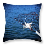 Back To The Bay Blue Crab Throw Pillow