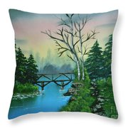 Back Woods Bridge Throw Pillow