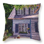 Back Yard With Flower Pots Throw Pillow