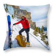 Backcountry Skier Preps For Ice Climbing On Cobb Peak In Idaho Throw Pillow