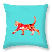 Background Colour Choice Cat Throw Pillow