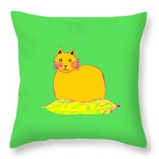 Background Colour Choice Saffron Cat Throw Pillow