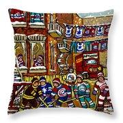 Backlane Snowy Winter Scene Hockey Game Verdun Alley Montreal Team Jerseys Canadian Art Throw Pillow
