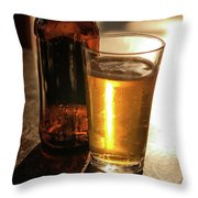 Backlit Glass Of Beer And Empty Bottle On Table Throw Pillow