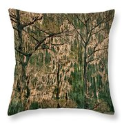 Backlit Moss-covered Trees Caddo Lake Texas Throw Pillow