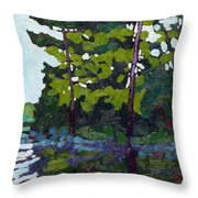 Backlit Pines Throw Pillow