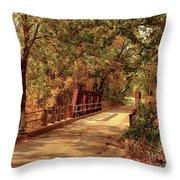 Backroads River Bridge Throw Pillow