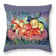 Backyard Apples Throw Pillow