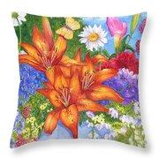 Backyard Bouquet Throw Pillow