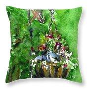 Backyard Hanging Plant Throw Pillow