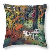 Backyard In Autumn Throw Pillow