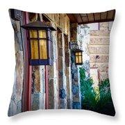 Backyard Lanterns Throw Pillow