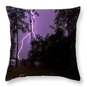 Backyard Lightning Throw Pillow