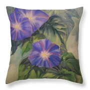 Backyard Morning Glories Throw Pillow