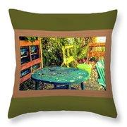 Backyard Summer Throw Pillow