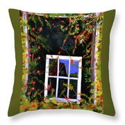 Backyard Window Throw Pillow