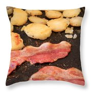 Bacon And Potatoes On A Griddle Throw Pillow