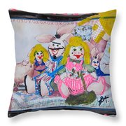 Bad Bunnies Throw Pillow