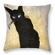Bad Cat Halloween Throw Pillow