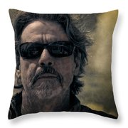 Badass Man In Sunglasses Stares Into The Unknown Throw Pillow
