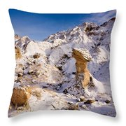 Badlands Hoodoo In The Snow Throw Pillow