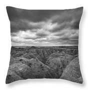 Badlands White River Valley Bw Throw Pillow