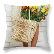 Bag With A Bouquet Of Tulips Throw Pillow