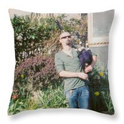 Bagpiper In Glastonbury Throw Pillow
