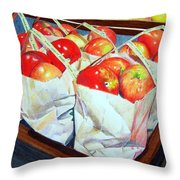 Bags Of Apples Throw Pillow