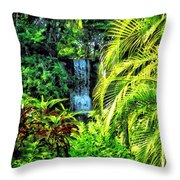Bahamas - Tropical Waterfall Throw Pillow