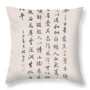 Bai Juyis Poem In Running Script Throw Pillow