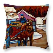 Baie Saint Paul Quebec Country Scene Throw Pillow