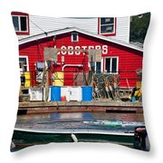 Bailey Island Lobster Pound Throw Pillow by Susan Cole Kelly
