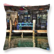 Bait Ice  Beer Shop On Bay Throw Pillow