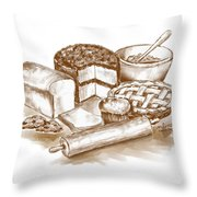 Baked Goods Throw Pillow by Arline Wagner