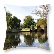 Bakewell Bridge And The River Wye Throw Pillow