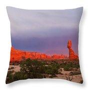 Balance Rock At Sunset, Arches National Park, Utah Usa Throw Pillow