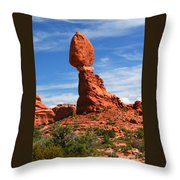 Balanced Rock In Arches National Park, Moab, Utah Throw Pillow