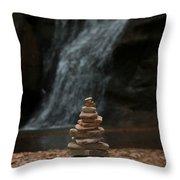 Balanced Stones Waterfall Throw Pillow