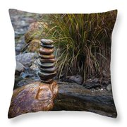 Balancing Zen Stones In Countryside River V Throw Pillow