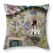 Balcionies Of Casa Batllo In Barcelona, Spain Throw Pillow
