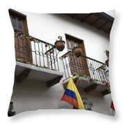 Balconies And Flags Throw Pillow