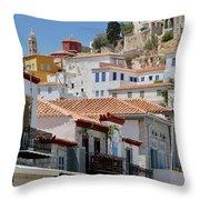 Balconies Of Hydra Throw Pillow