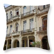 Balconies On Old Historic Buildings Throw Pillow