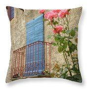 Balcony And Roses Throw Pillow