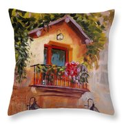 Balcony In Bloom Throw Pillow