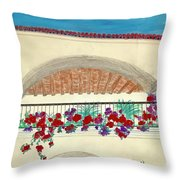 Balcony In Hilltop Village Of Vejer Spain Throw Pillow