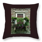 Balcony On Pebbled Wall Throw Pillow